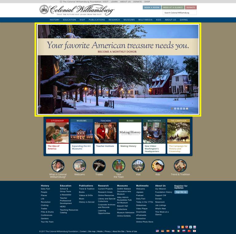 Colonial Williamsburg homepage hero banners